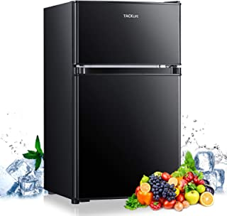 Compact refrigerator, TACKLIFE 3.2 Cu.Ft, Mini Fridge with Freezer, 2 Door, With LED Light, Ideal Small Refrigerator for B...