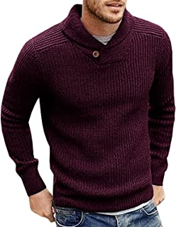 Pengfei Mens Sweaters Shawl Collar Slim Fit Knitted Pullovers Fall Winter Casual Long Sleeve Sweater