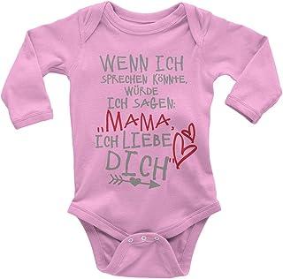 Mikalino Babybody mit Spruch für Jungen Mädchen Unisex Langarm Wenn ich sprechen könnte würde ich Sagen: Mama ich Liebe Dich | handbedruckt in Deutschland |