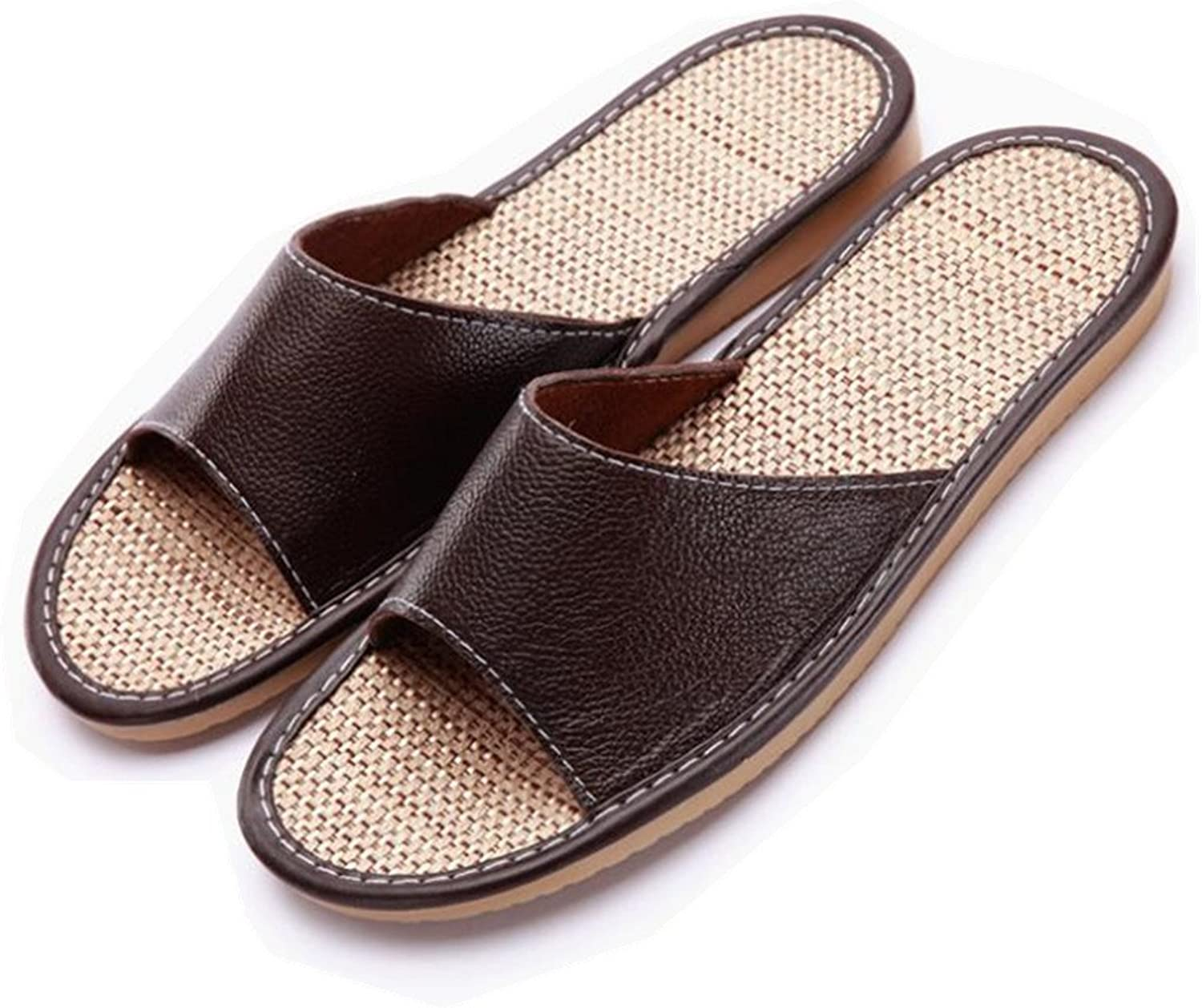 SAMSAY Unisex Genuine Leather Flax House Slippers Indoor Home Sandals Flat shoes