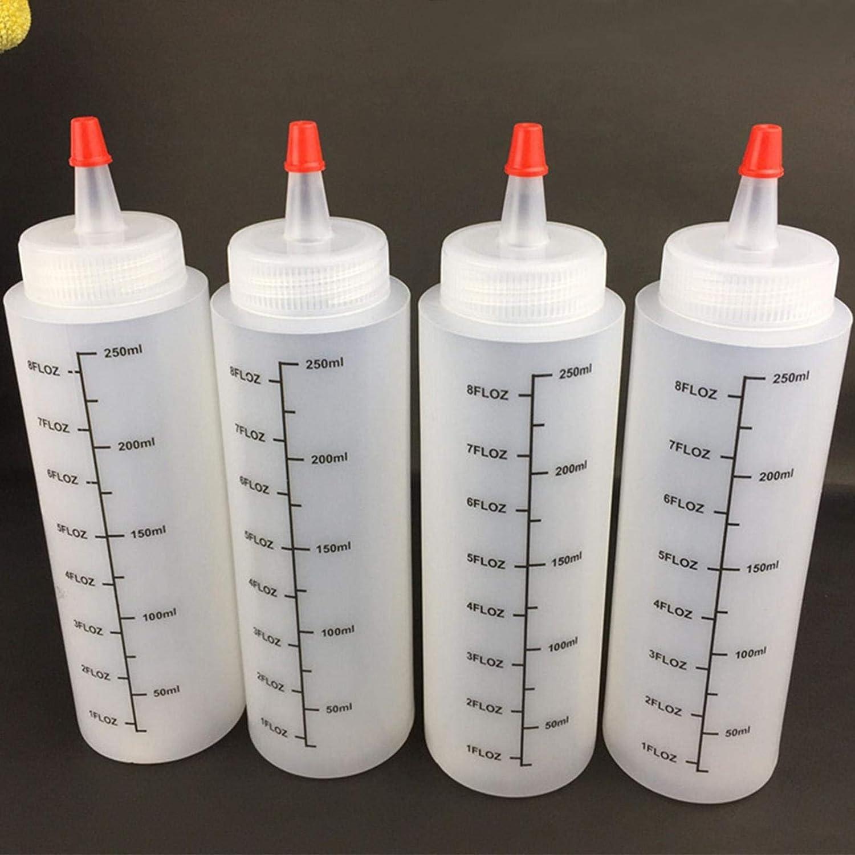 Botellas presión de plástico con tapón antigoteo y mediciones, 5 x 250 ml, de plástico, botella de líquido con tapón antiderrames, recipiente de almacenamiento para ketchup/mostaza/mayonesa/salsas