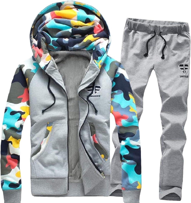 NicellyMen Hood color Conjoin Plus Velvet Camouflage Track Set