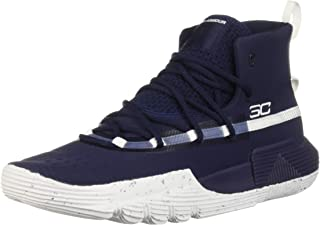 Under Armour Boys' Grade School SC 3Zer0 II Basketball Shoe, Midnight Navy (401)/White, 6