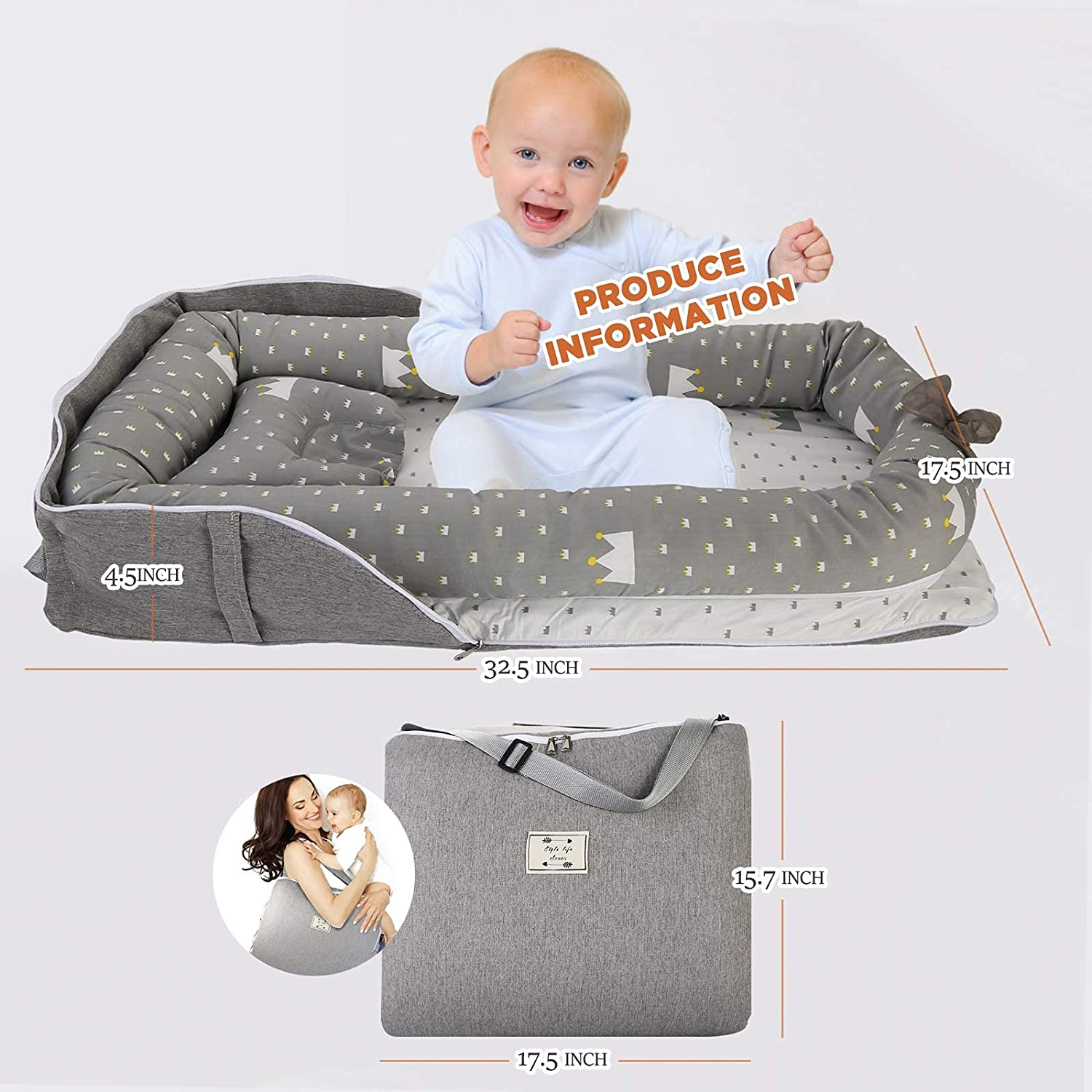 Baby Lounger Baby Nest, Anti-Roll Co-Sleeping Bed for Baby, GORSETLE Ultra Soft & Breathable Portable Newborn Lounger Crib Bassinet(Crown)