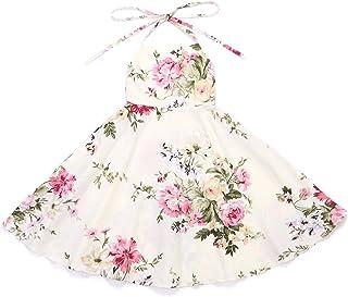 Flofallzique Summer Girls Beach Dress Vintage Floral Toddler Tea Party Dress up(Cream,7