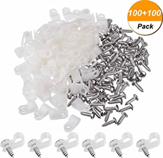 Hicarer 100 Pack 1/4 Inch R-type Clip Cable Fastener Wire Clamp Nylon Screw Mounting Electrical Grip Wire Clips with 100 Pack Screws for Wire Management