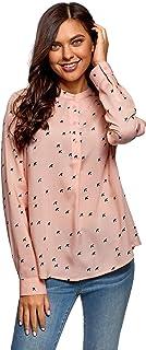 oodji Collection Mujer Blusa de Viscosa con Silueta en A
