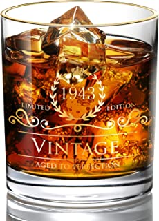 1943 76th Birthday/Anniversary Gift for Men/Dad/Son, Vintage Unfading 24K Gold Hand Crafted Old Fashioned Whiskey Glasses, Perfect for Gift and Home Use - 10 oz Bourbon Scotch, Party Decorations