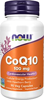 NOW Supplements, CoQ10 100 mg with Hawthorn Berry, Pharmaceutical Grade, All-Trans Form produced by Fermentation, 90 Veg C...