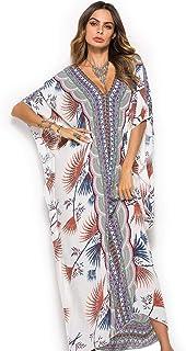 CHERRY CAT Women Beachwear Long Beach Coverups Kaftan Casual Caftan Dress