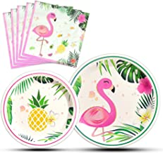 WERNNSAI Flamingo Party Supplies - Luau Disposable Summer Hawaiian Themed Tableware Set for Girl Kids Birthday Dinner Dessert Plates and Napkins Serves 16 Guests 48PCS