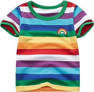 Little Boys T-Shirt Rainbow Striped O-Neck