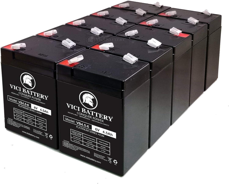 VICI Battery Exit Sign Battery 6V 4.5Ah Backup - 10 Pack : Health & Household