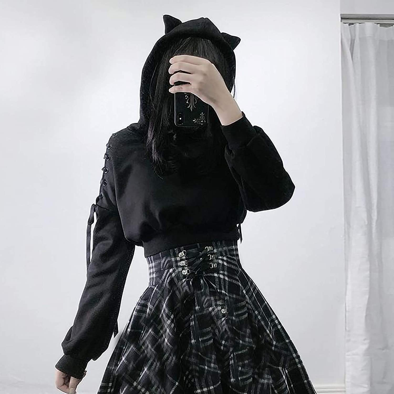 Jaqqra Hoodies for Women, Womens Cat Ear Crop Sweatshirt Casual Long Sleeve Pullover Tops Blouse Cute Tunic Sweatshirts