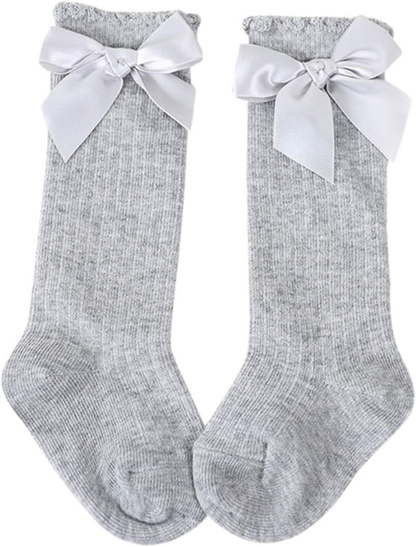 JJZY NDJPN Girl Big Bow Knee Growing Soft Cotton Socks (Color : Gray, Size : 0 2 Years (S))