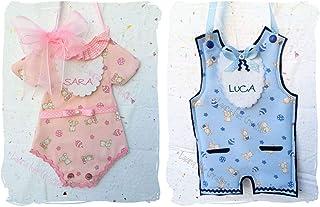 Originale fiocco nascita: vestitino o tutina in stoffa con nome