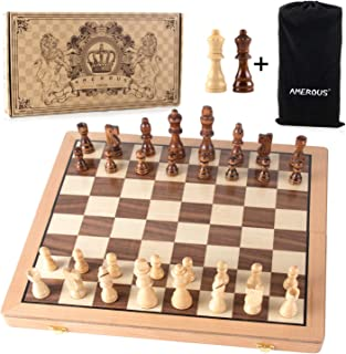 AMEROUS Magnetic Chess Set, 15 Inches Handmade Wooden Folding Travel Chess Board Game Sets with Chessmen Storage Slots for Kids and Adults, 2 Bonus Extra Queens, Gift Box Packed
