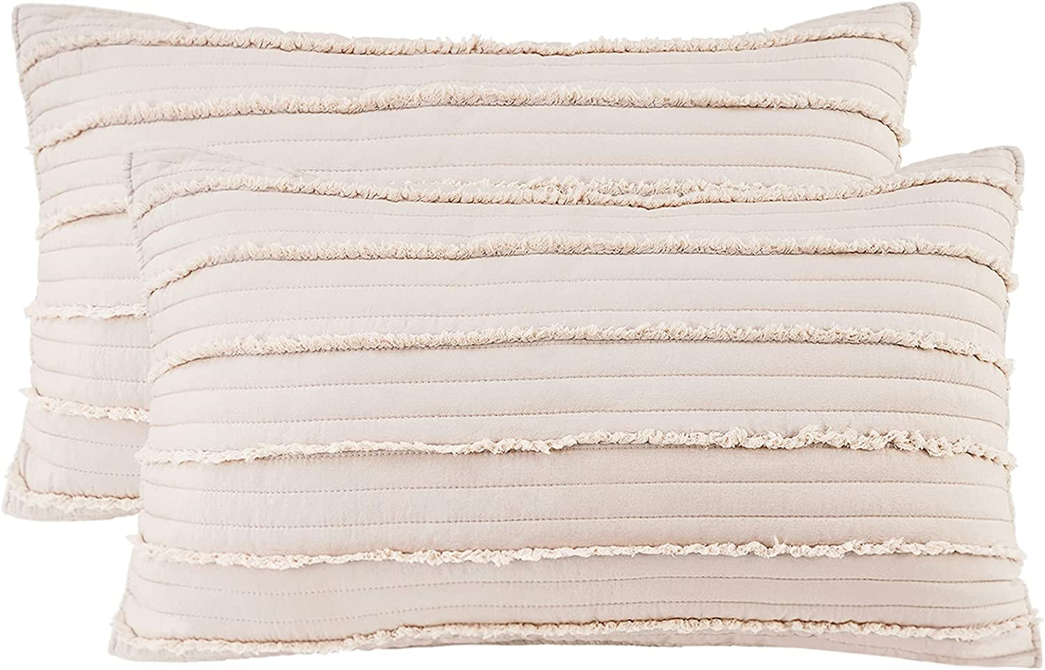 BOSOWOS Queen Size Pillow Protectors Set of 2,Soft Breathable 20 x 30 Inches Pillow Covers Encasement,Microfiber Pillowcases for Easy Care,Cappuccino