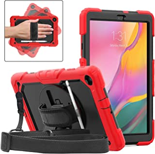 DUNNO Case for Samsung Galaxy Tab A 10.1 Inch 2019(SM-T510/T515) - Heavy Duty Full Body Cover with Built-in Kickstand Shockproof Multiple Viewing Angles(Red/Black)