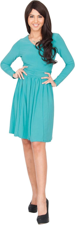 KOH KOH Womens Long Sleeve V-Neck Ruched Semi Formal Knee Length Short Dress
