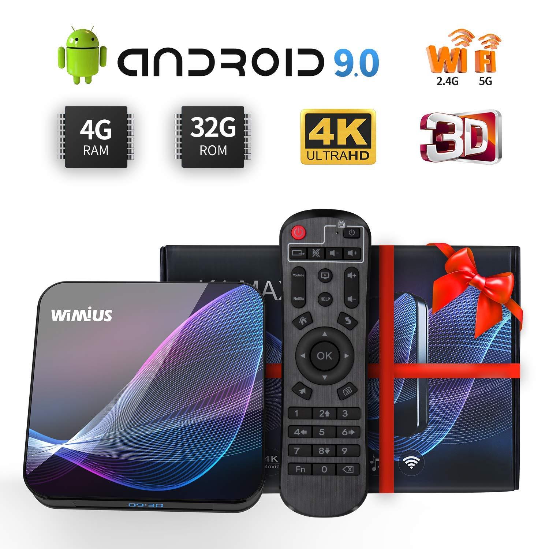 WiMiUS TV Box Android 9.0 4GB RAM 32GB ROM, Smart TV Box Dual WiFi 2.4/5G, 3D 4K Ultra HD, Bluetooth 4.0, Soporta /USB 3.0/SD/LAN/HDMI/ AV/óptica: Amazon.es: Electrónica