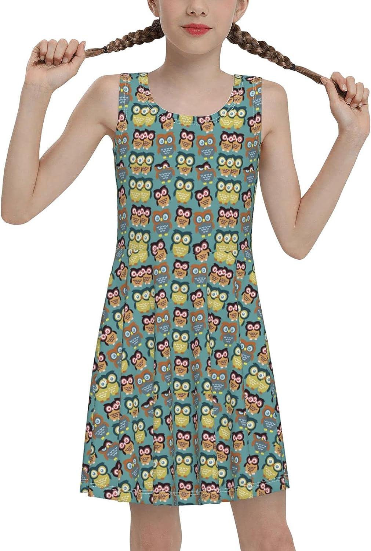 Cartoon Owls Sleeveless Dress for Girls Casual Printed Pleated Skir