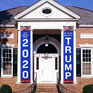 CandyHome Trump 2020 Flag Banners, No More Bull Keep America Great Large Banners Yard Sign, Support Donald Trump for Presi...