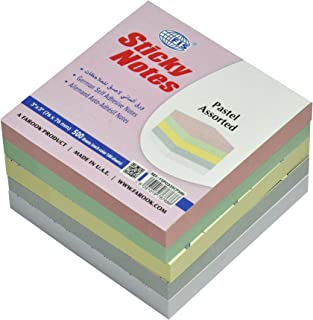FIS Sticky Note Pads, 5 Assorted Pastel Colors, 500 Sheets, 3 x 3 Inch Size - FSPO335CP500