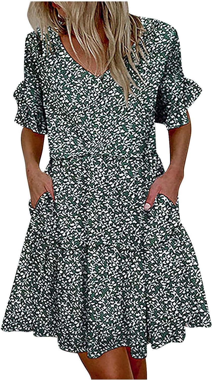 Tynelles Women's Boho Mini Dresses Summer V Neck Ruffles Short Sleeve Printing Dress Fashion Pleated Pocket Beach Dress