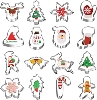 Christmas Cookie Cutters, Hibery 16-Piece Holiday Cookie Cutters Set, Gingerbread Man, Snowman, Snowflake Cookie Cutter and More
