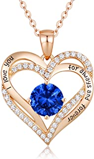 Forever Love Heart Women Necklace 925 Sterling Silver...