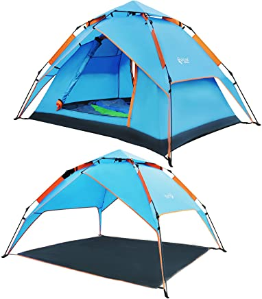 REDCAMP 2-4 Person Instant Tent for Camping,  Waterproof Automatic Popup Tent 3 Season for Family Outdoor Backpacking Travel