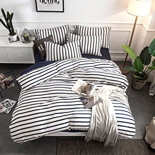 Merryfeel Cotton Duvet Cover Set,100% Cotton Jersey Knit Striped Duvet Cover and Pillowshams,3 Pieces Bedding Set - (King,Navy Stripe)