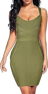 Madam Uniq Women's Rayon Bandage Dresses Bodycon Strap Mini Club Dress