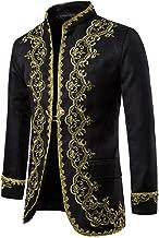 Succper Men's Medieval Men's Gothic Style Punk Retro hot Gold Coat Performance Costumes