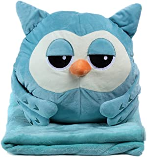 Alpacasso 3 In 1 Cute Cartoon Plush Stuffed Animal Toys Throw Pillow Blanket Set with Hand Warmer Design. (Blue Owl)