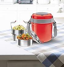 Milton Electron Stainless Steel Tiffin Box Set, 360ml/158mm, Set of 3, Red