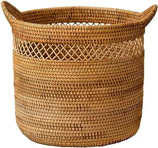 Panier de rangement Boîtes de conservation Rotin tissé avec panier poignées, ronde bac de stockage for les étagères, stock...