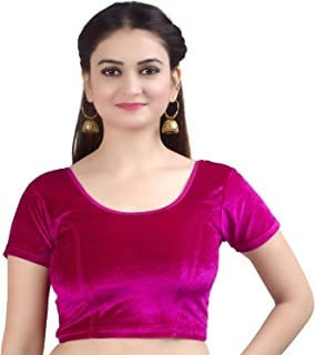 Chandrakala Women's Stretchable Readymade Velvet Magenta Indian Ethnic Saree Blouse Crop Top Choli-Large (B130MAG4)