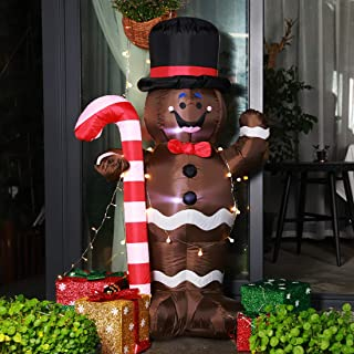 VIVOHOME 5ft Height Christmas Inflatable LED Lighted Gingerbread Man with Candy Cane Blow up Outdoor Yard Decoration