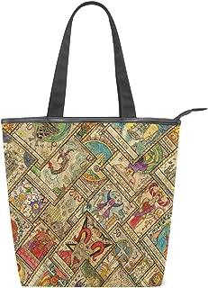 ALAZA Tote Canvas Shoulder Bag Tarot Cards Vintage Womens Handbag