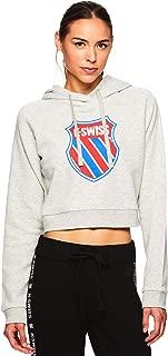 K-Swiss Women's Pullover Crop Hoodie - Hooded Activewear Workout Sweatshirt