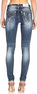 Miss Me Women's Criss Cross Piecing Pockets with Standard Skinny Leg Jeans