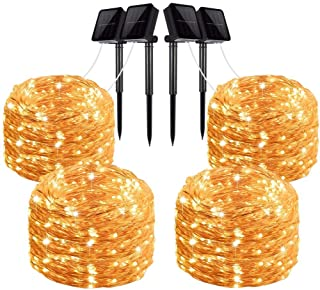 LiyuanQ Solar String Lights, 4 Pack 100 LED Solar Fairy Lights 33 Feet 8 Modes Copper Wire Lights Waterproof Outdoor Strin...