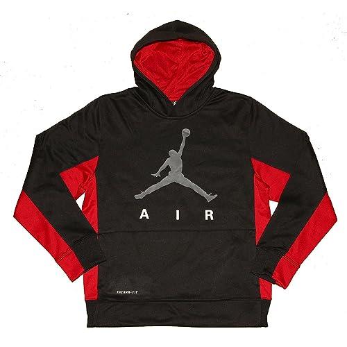 688169c18bc91f NIKE Air Jordan Boys Therma-Fit Pullover Hoodie Sweatshirt Black Red
