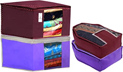 Kuber Industries Non Woven 2 Pieces Saree Cover/Cloth Wardrobe Organizer and 2 Pieces Blouse Cover Combo Set (Maroon & Purple)