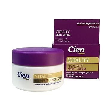 Cien Regenerative Night Cream - 50 ml (1.76 Fl oz) - With calcium, collagen, Q10 and soybean oil