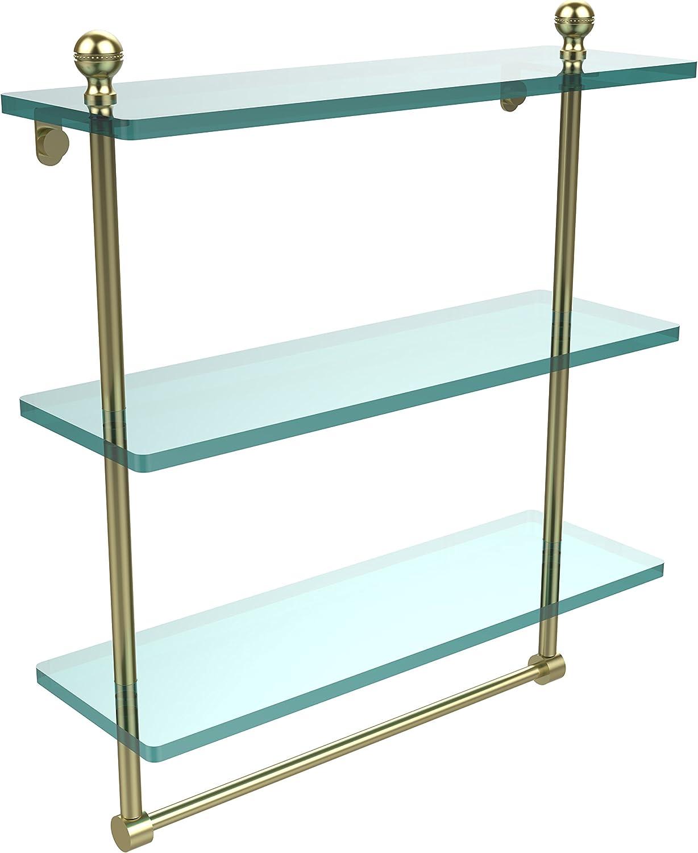 Allied Brass MA-5 16TB-SBR 16 X 5 Triple Glass Shelf with TB Satin Brass