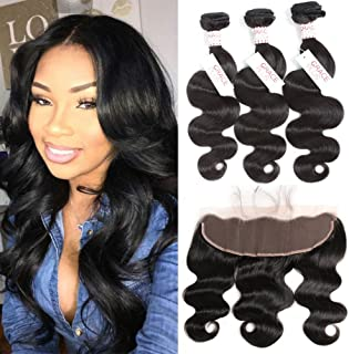 Grace Plus Hair Brazilian Body Wave 3 Bundles with Frontal Ear to Ear Lace Frontal Closure with Bundles Brazilian Hair with Closure Human Hair Extensions Lace Frontal with Baby Hair (18 18 18+16)