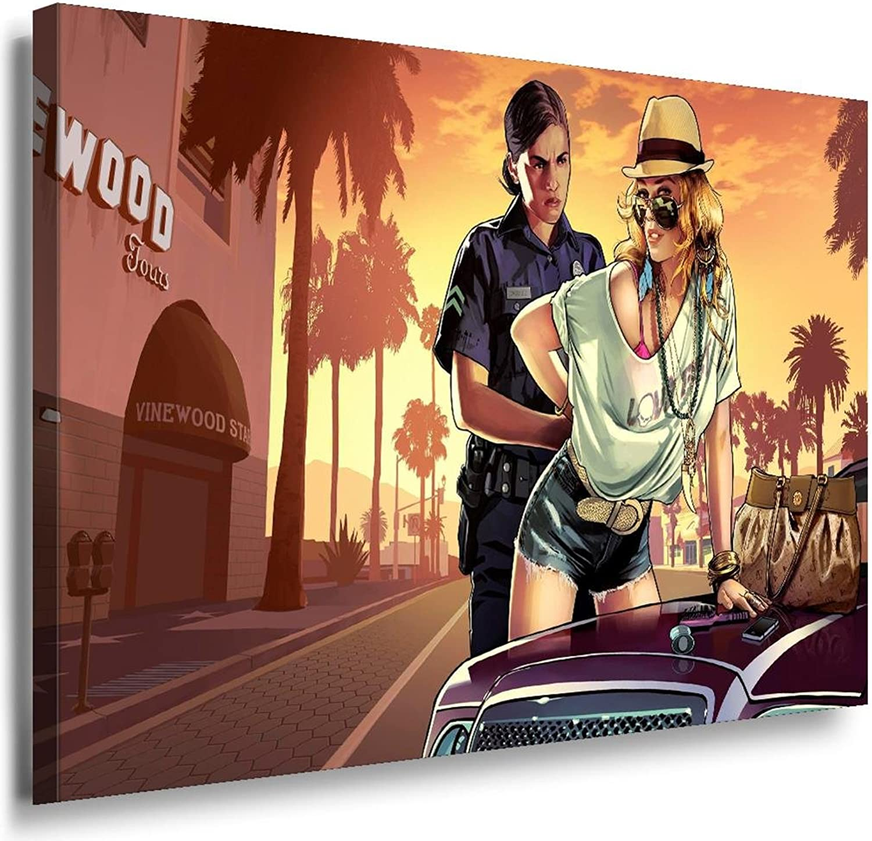 GTA V V V Cops Leinwandbild   LaraArt Bilder   Leinwand Bild + Mehrfarbig + Kunstdruck XXL g20-5 Wandbild 100 x 70 cm B0162W9FPU 6b4a50